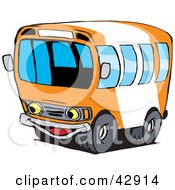 Clipart Illustration Of A Happy Orange And White School Bus Character