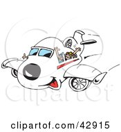 Clipart Illustration Of Passengers Waving From Inside An Airplane