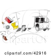 Clipart Illustration Of A Moving Truck Speeding Over A Hill Furniture Spilling Out Of The Back by Dennis Holmes Designs