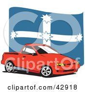 Clipart Illustration Of A Red Ute Vehicle In Front Of A Eureka Flag