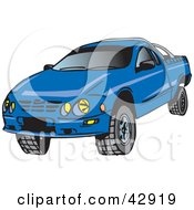 Clipart Illustration Of A Blue Ute Vehicle With Tough Tires by Dennis Holmes Designs