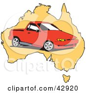 Clipart Illustration Of A Red Ute Vehicle On A Map Of Australia