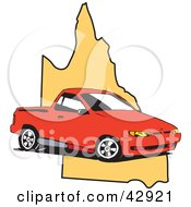 Clipart Illustration Of A Red Ute Vehicle On A Map Of Queensland Australia by Dennis Holmes Designs