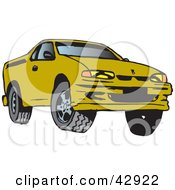 Clipart Illustration Of A Green Ute Vehicle by Dennis Holmes Designs