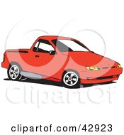 Clipart Illustration Of A Red Ute Vehicle by Dennis Holmes Designs