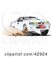 Clipart Illustration Of A White Ute Vehicle Speeding Through Dirt