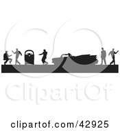 Clipart Illustration Of A Black Silhouetted Scene Of Men Dancing Around A Jukebox And Convertible Cadillac