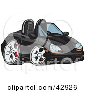 Clipart Illustration Of A Cute Compact Black Convertible Porche Sports Car by Dennis Holmes Designs