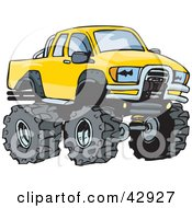 Clipart Illustration Of A Tough Big Yellow Toyota Truck by Dennis Holmes Designs