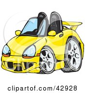 Clipart Illustration Of A Cute Compact Yellow Convertible Porche Sports Car by Dennis Holmes Designs