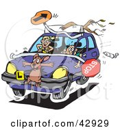 Clipart Illustration Of A Crazy Teen Girl Running Over A Dog And Items During A Driving Lesson