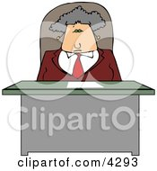 Business Woman Sitting Behind Her Desk Clipart by djart
