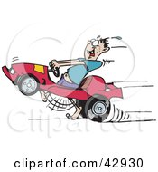Clipart Illustration Of A Man Running And Racing His Go Kart