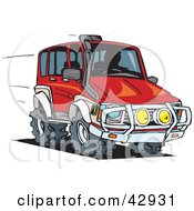 Clipart Illustration Of A Red Four Wheeling SUV