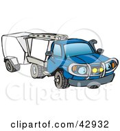 Clipart Illustration Of A Blue Truck Towing Trailers by Dennis Holmes Designs