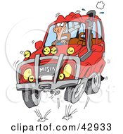 Clipart Illustration Of A Man Four Wheeling In His Red SUV