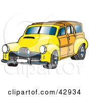 Clipart Illustration Of A Vintage Yellow Woody Car by Dennis Holmes Designs