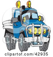 Clipart Illustration Of A Tough Blue Flat Bed Truck