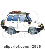 Clipart Illustration Of A White SUV With Luggage On The Rack