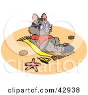 Clipart Illustration Of A Vacationing Possum Sun Bathing On A Beach by Dennis Holmes Designs
