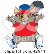 Clipart Illustration Of A Happy Possum In A Hat Shoes And Red Shirt