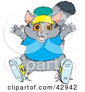Clipart Illustration Of A Happy Possum In A Hat Shoes And Blue Shirt