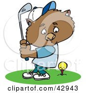 Clipart Illustration Of A Golfing Wombat Swinging