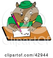 Clipart Illustration Of A Wombat Writing A Letter Or Doing Homework