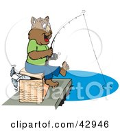 Clipart Illustration Of A Happy Fishing Wombat