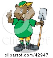 Clipart Illustration Of A Working Wombat Holding A Shovel by Dennis Holmes Designs