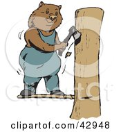 Clipart Illustration Of A Lumberjack Wombat Chopping Down A Tree