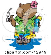 Clipart Illustration Of A Vacationing Wombat Wading In Water With A Beverage