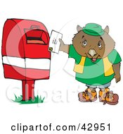 Clipart Illustration Of A Wombat Mailing A Letter by Dennis Holmes Designs