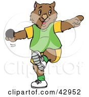 Clipart Illustration Of A Wombat Cricket Bowler by Dennis Holmes Designs
