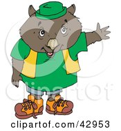 Clipart Illustration Of A Friendly Dressed Wombat Holding Out One Arm by Dennis Holmes Designs