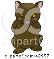 Clipart Illustration Of A Cute And Shy Wombat With His Arms Behind His Back by Dennis Holmes Designs