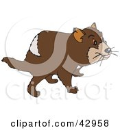 Clipart Illustration Of A Curious Brown Tasmanian Devil by Dennis Holmes Designs