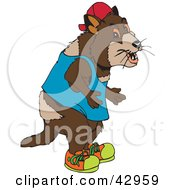 Clipart Illustration Of A Tasmanian Devil Standing And Wearing Clothes by Dennis Holmes Designs