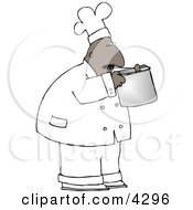 Ethnic Male Chef Smelling Food In A Cooking Pot Clipart by Dennis Cox
