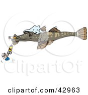Clipart Illustration Of A Man Holding Onto A Hook On A Giant Flathead Fish Smoking A Cigarette