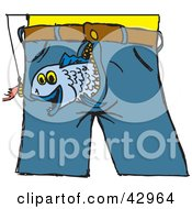Clipart Illustration Of A Fish Emerging From A Mans Pants To Bite A Lure