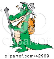 Clipart Illustration Of A Hiking Crocodile Wearing An Aussie Hat by Dennis Holmes Designs