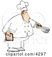 Male Chef Holding A Cooking Pot Clipart