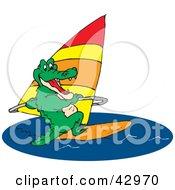 Clipart Illustration Of A Green Crocodile Windsurfing