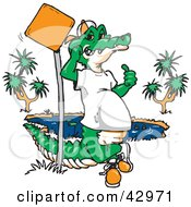 Cool Crocodile Leaning Against A Pole By A Pond
