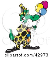 Clipart Illustration Of A Birthday Party Crocodile Clown Holding Balloons