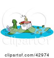 Clipart Illustration Of A Crocodile Floating In A Pond With A Cooler And Drinks On His Belly