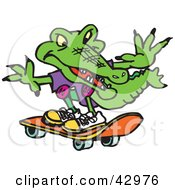 Clipart Illustration Of A Green Croc Skateboarding