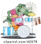 Clipart Illustration Of A Crocodile Drummer Performing by Dennis Holmes Designs