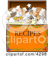 Concept Clipart Illustration Of Chefs And Cooks In A Recipe Box by djart #COLLC4298-0006